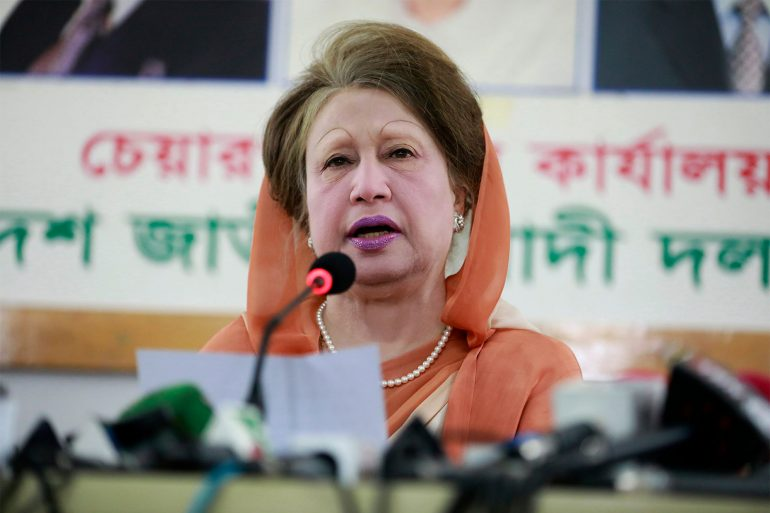 Khaleda Zia with the mouth open